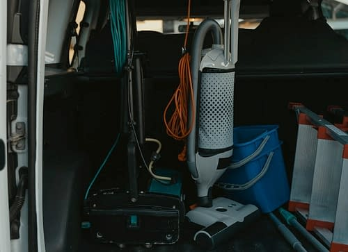 carpet cleaning supplies in van for a story that illustrates the importance of marketing your business