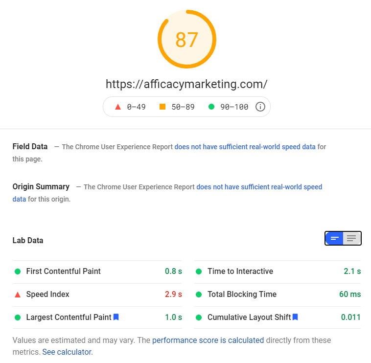 web page speed test results